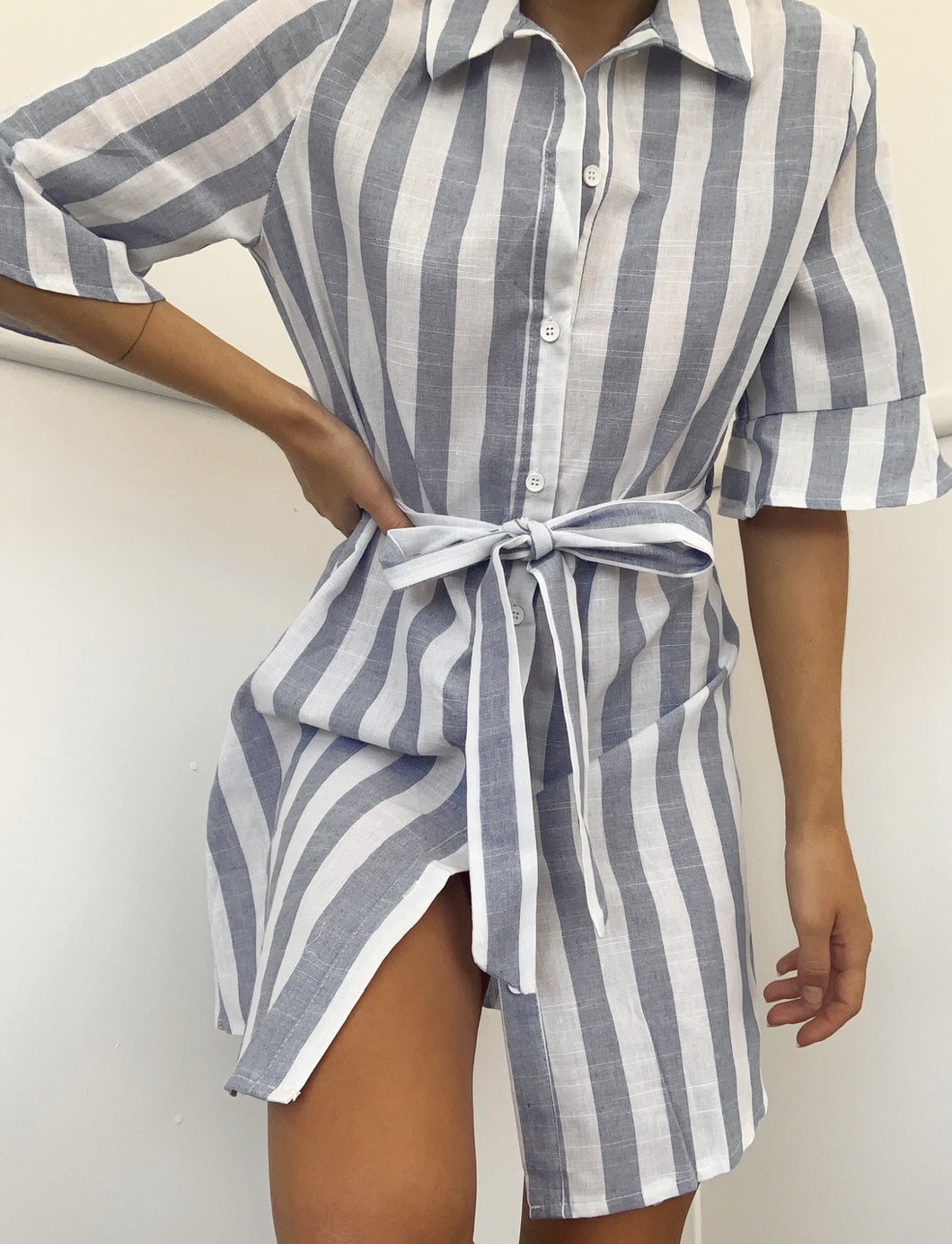 Carter Strip Shirt Dress