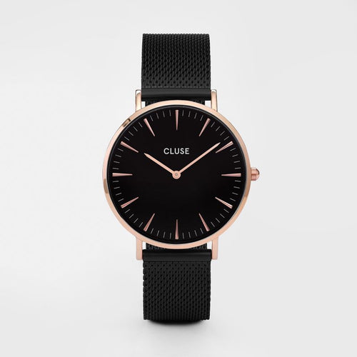 Cluse Watch Black Mesh Rose Gold Face