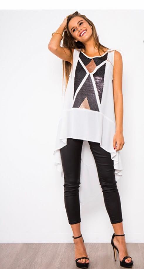 White Hi Low Sequin Top
