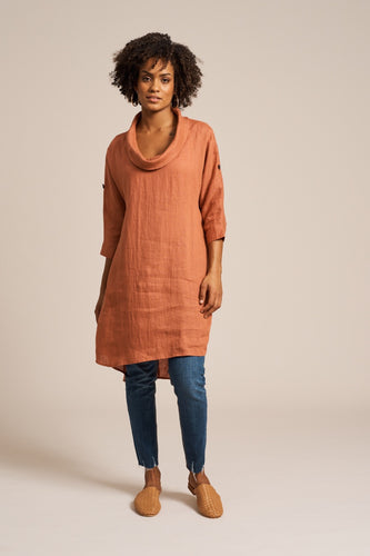 Jacinda Cowl Dress Terracotta