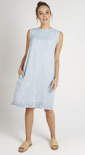 Chambray Raw Edge Dress