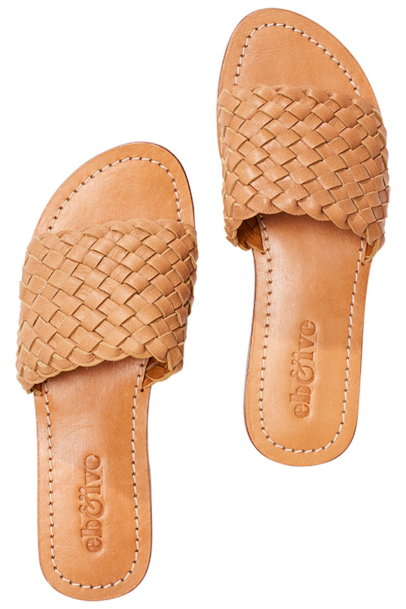 Leather Slides Tan