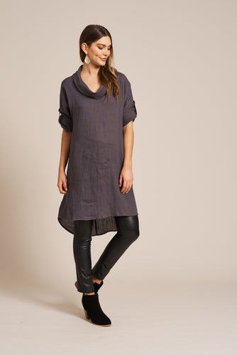 Jacinda Cowl Dress Slate