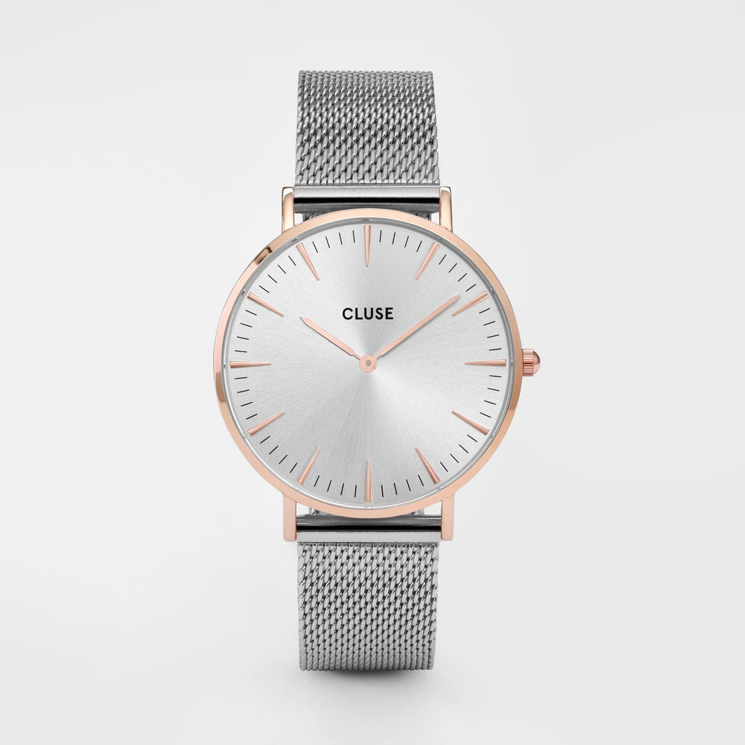 Cluse Silver Mesh Rose Gold Face Large