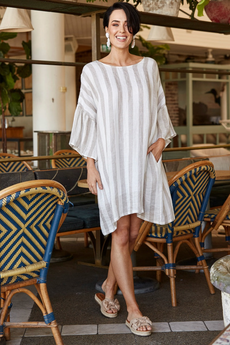 St Tropez Shift Dress Beige