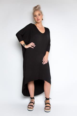 Bamboo Scoop Maxi Long Sleeve Black