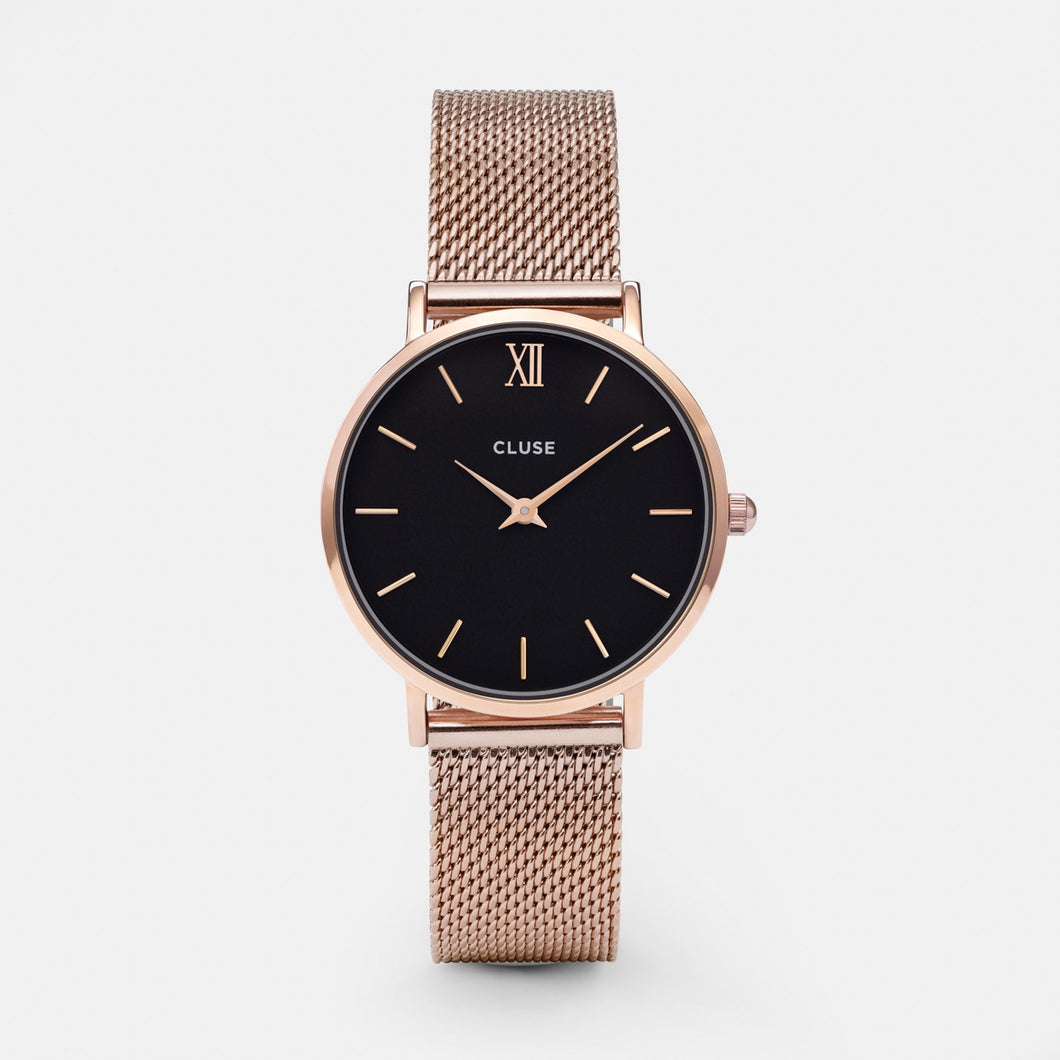 Cluse Watch Rose Gold Mesh Black Face Small