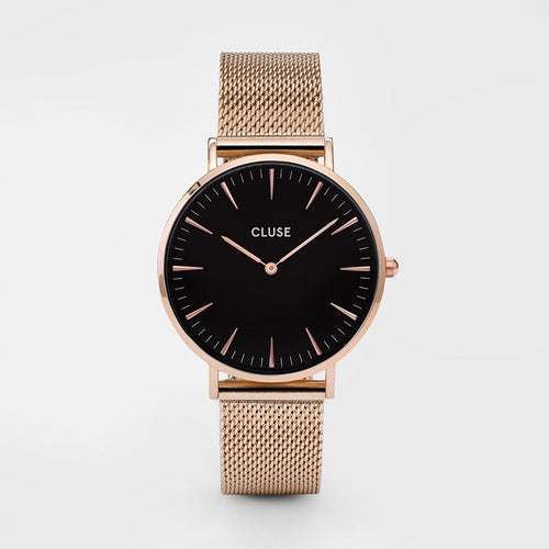 Cluse Watch Rose Gold Mesh Black Face Large