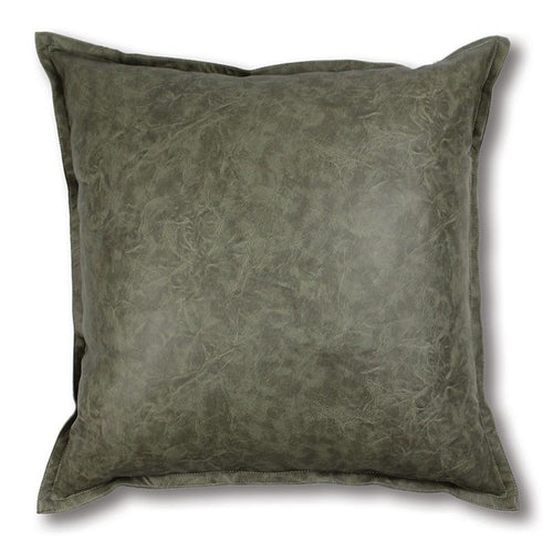 Boston Olive Leather Look Cushion 50cm