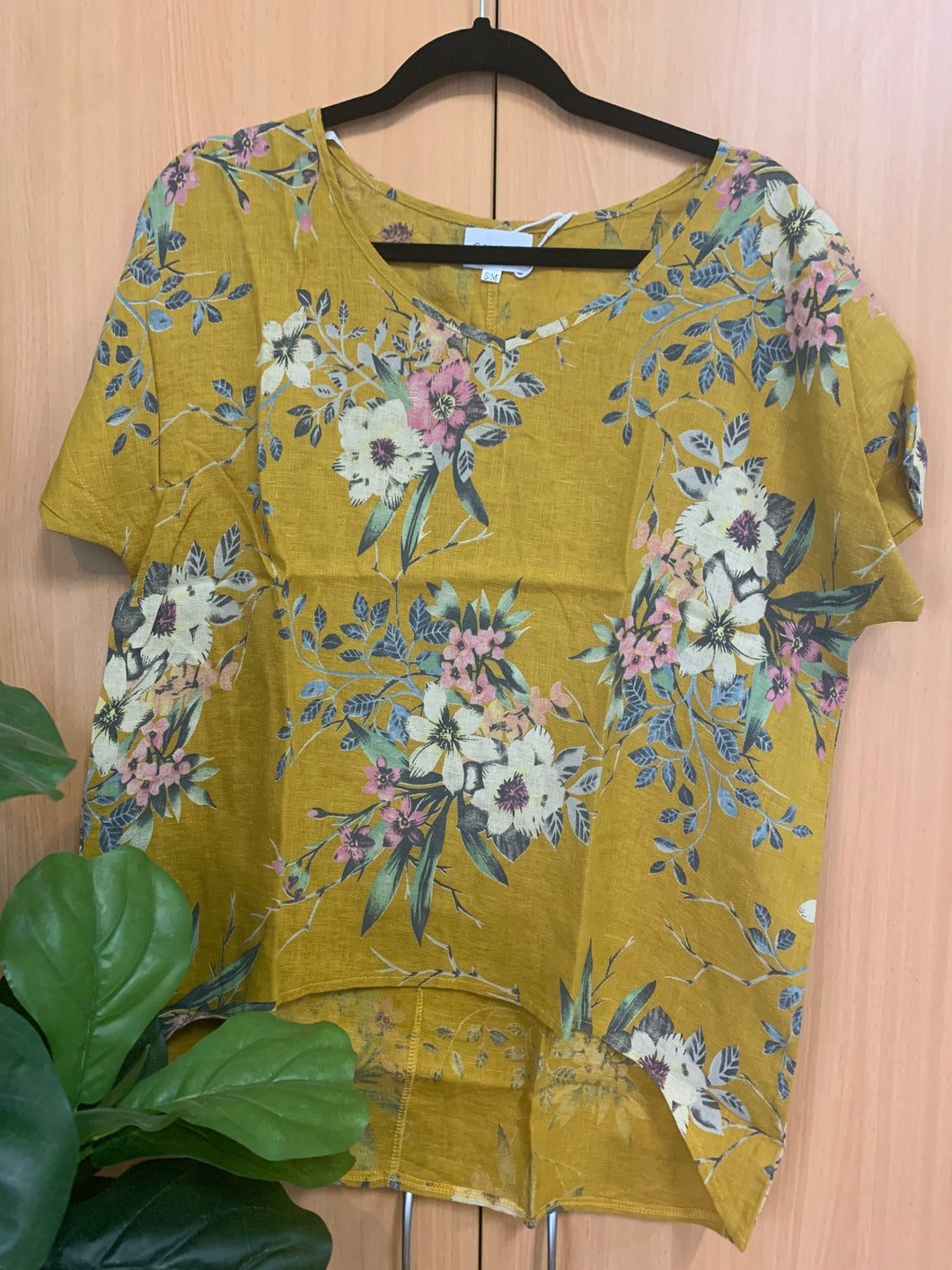 Floral Top Mustard
