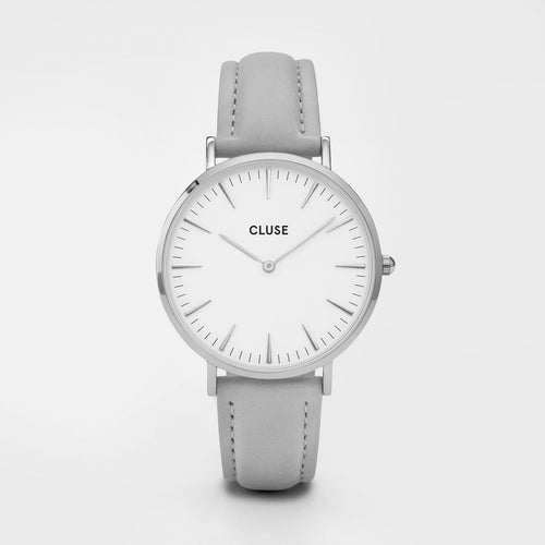 Cluse Light Grey Leather Watch