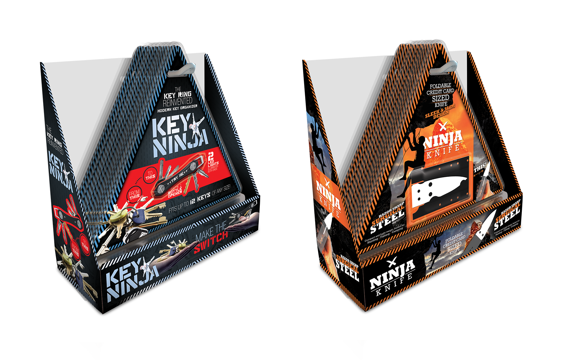 Wallet Ninja Key Ninja and Ninja Knife Product Packaging Design by Scott Luscombe of Creatibly