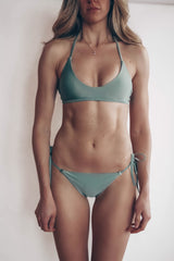 matcha green side tie bikini set