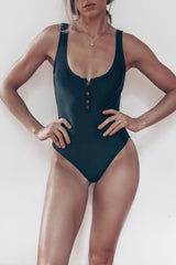 one-piece black button up low cut swimsuit