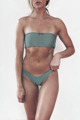 light green bandeau cut out high cut bikini