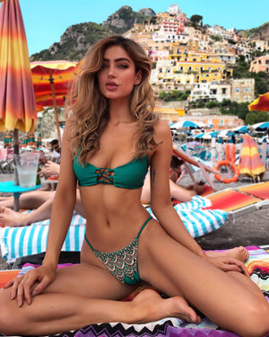 Belize Lace Emerald - Top - Sequin Sand