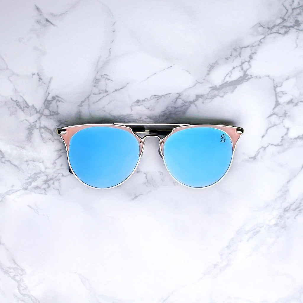 Sequin Sand tidal wave pacific blue mirrored lenses clubmaster sunglasses