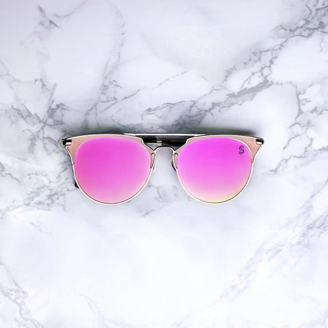 Sequin Sand hot pink fuchsia mirrored lenses clubmaster sunglasses