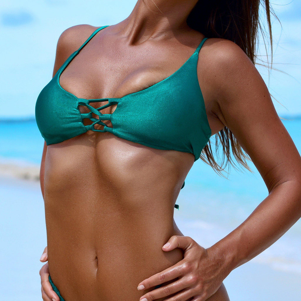 Belize Lace Emerald - Top, bikini - Sequin Sand