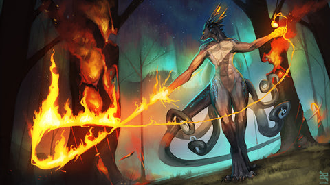"Zephra - ""Flame Dragon"" - 14x24 Playmat"