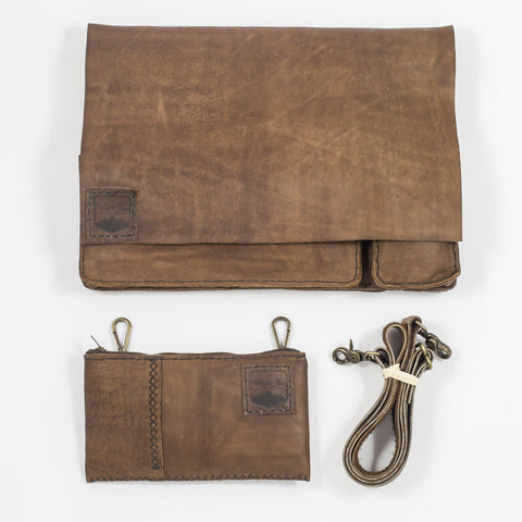 The Laptop Messenger Bag with Pouch | Rustic Brown Black Thread | 15""