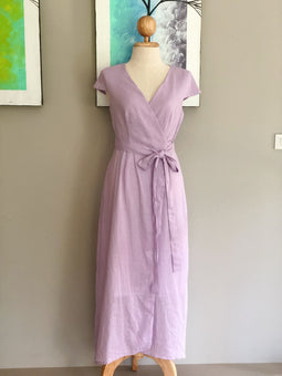 Isabella Dress in Purple Linen | made-to-order
