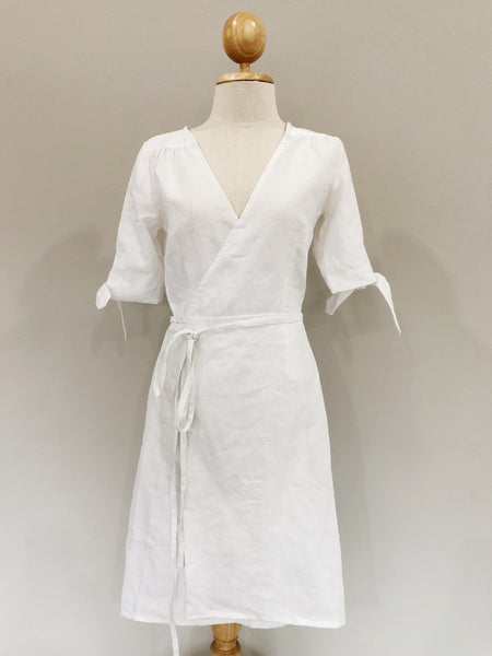 Clara White Linen Wrap Dress | Made-to-order