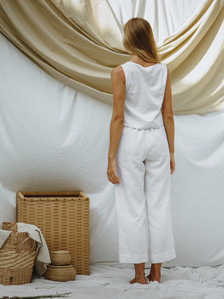 Emily Top in white linen