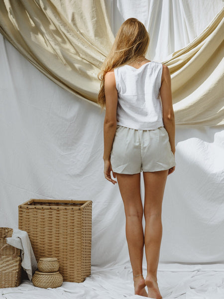 Cream Cotton Linen Shorts