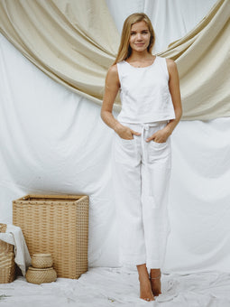 Laura pants in white linen