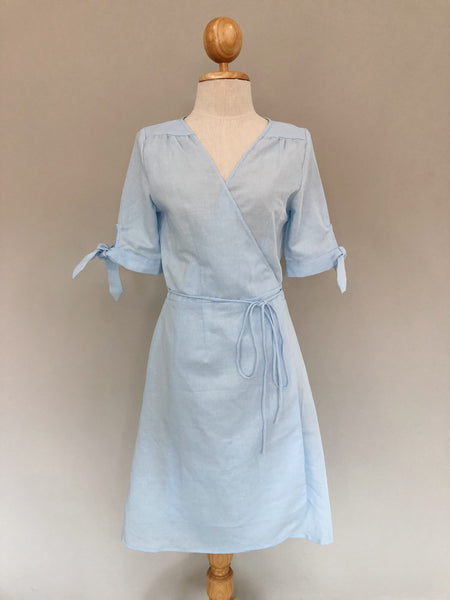 Clara Blue Cotton Linen Wrap Dress