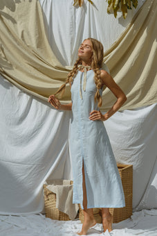 Evelyne Blue Linen Maxi Dress