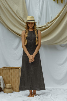 Evelyne Black Linen Maxi Dress
