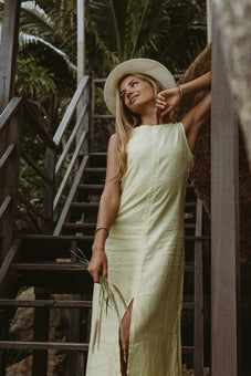 Evelyne Yellow Linen Maxi Dress