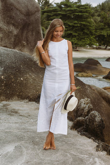 Evelyne White Linen Maxi Dress | Made-to-order