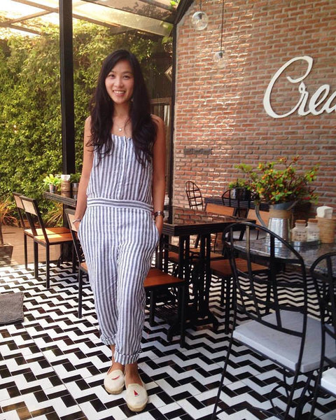 Ruby Linen Jumpsuit in Grey Stripes