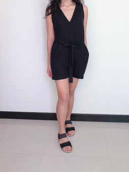 Black Linen Short Jumpsuit | Lucy short jumpsuit