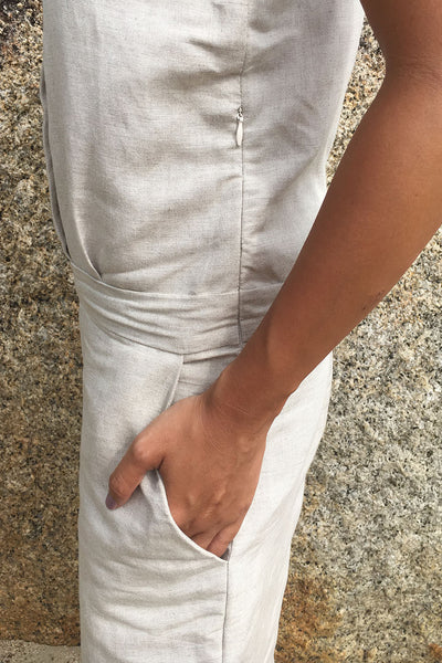 Ruby Linen Jumpsuit in Light grey