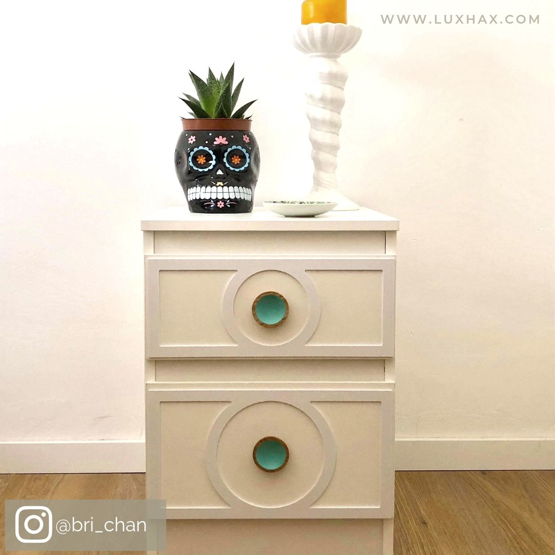 IKEA Malm bedside table with Lux Hax Styl-Panel 1114 in paintable white, and boho styling