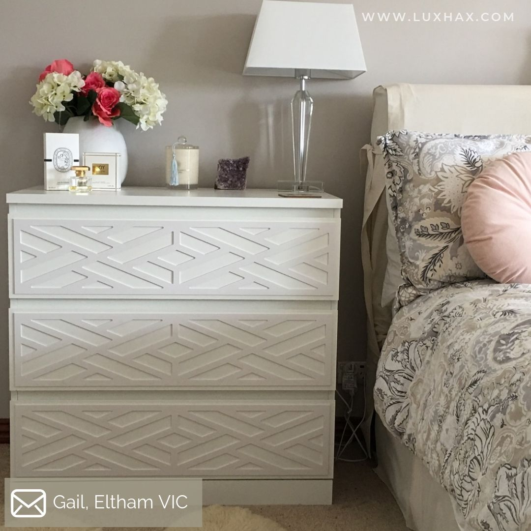 Lux Hax Styl-Panel 1132 in paintable white on IKEA Malm 3 drawer chest styled as bedside table