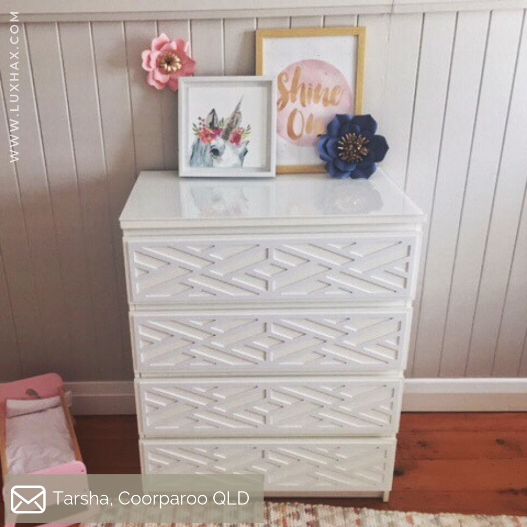 IKEA Malm drawers featuring Lux Hax Styl-Panel Kit 1132 in paintable white
