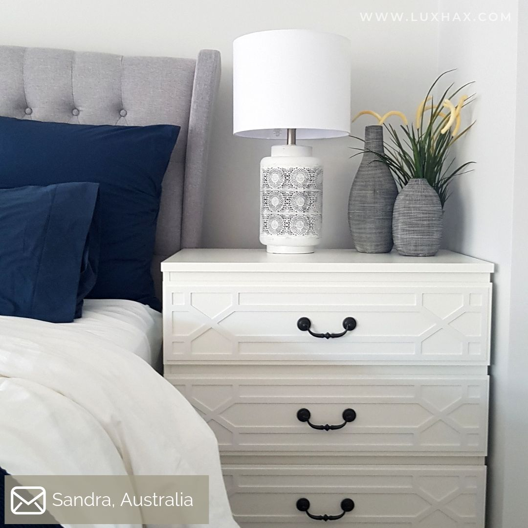 IKEA Malm drawers as bedside table featuring Lux Hax Styl-Panel Kit 1134 in paintable white