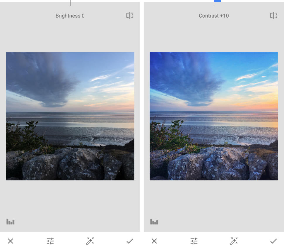 Example of Snapseed photo editing app