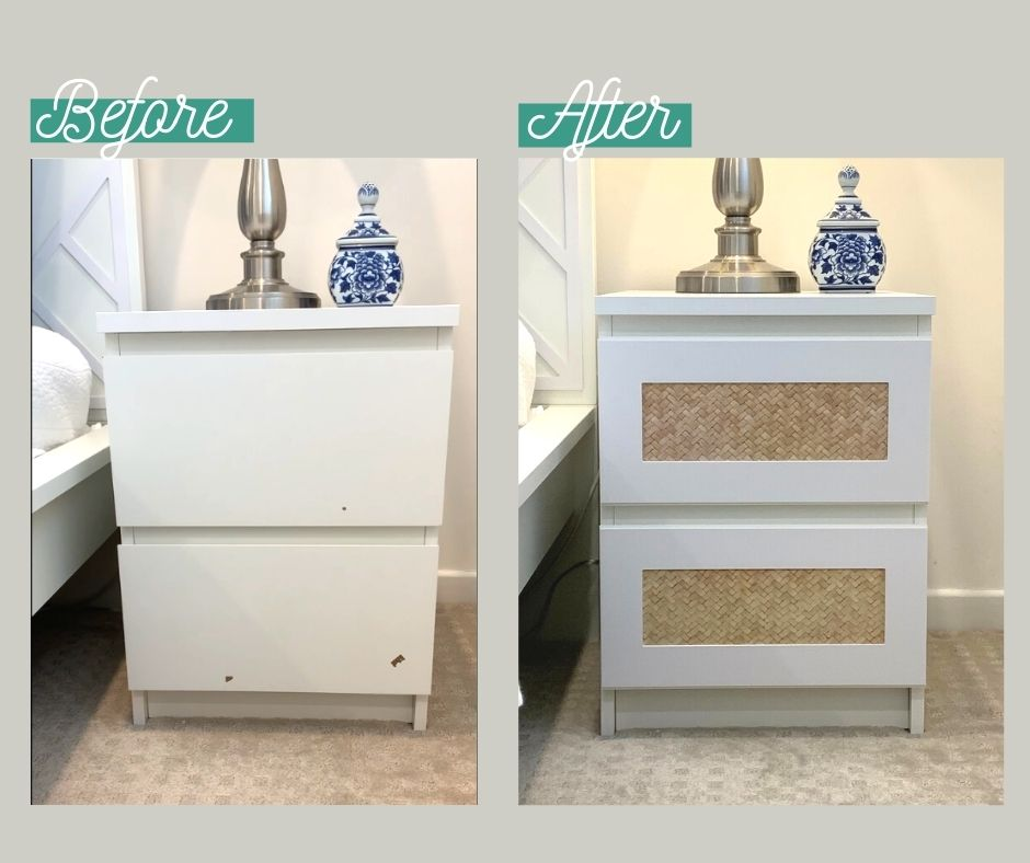 Before and after using Lux Hax overlays to suit IKEA Malm chest