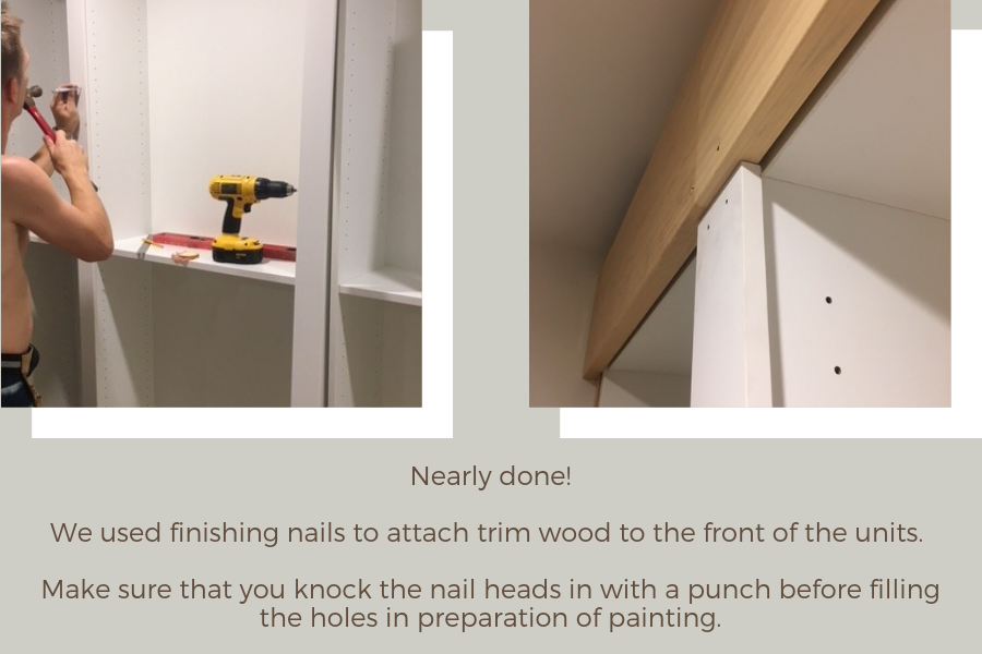 IKEA Billy bookcase hack: attach trim timber to the front