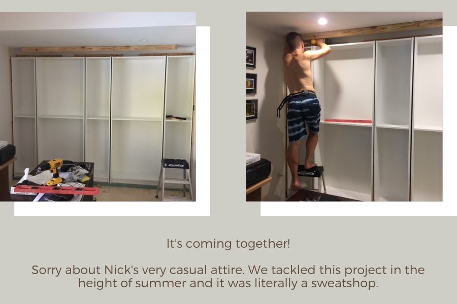 IKEA Billy bookcase hack: position units into place and anchor them to the wall