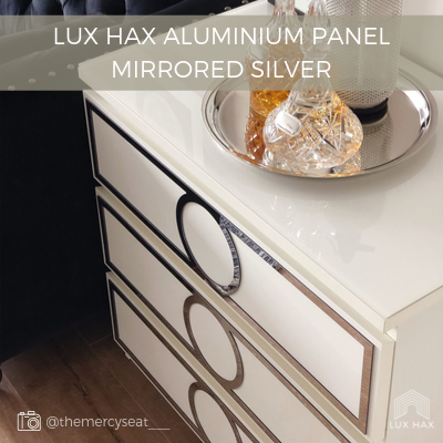 Example of Lux Hax Styl-Panel in mirrored silver aluminium finish