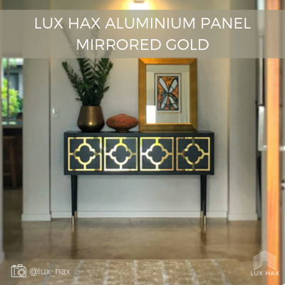 Example of Lux Hax Styl-Panel in mirrored gold aluminium finish