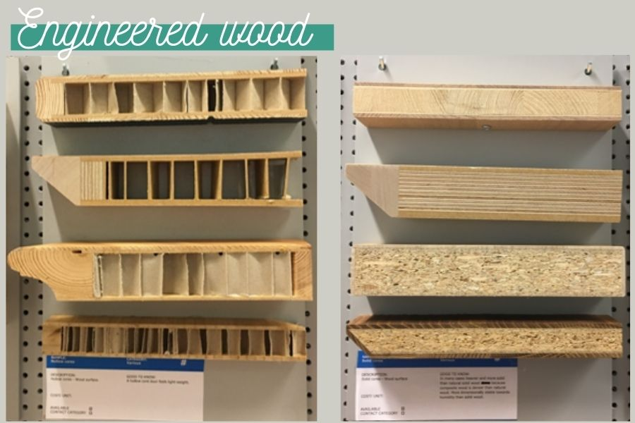 Examples of engineered wood used in IKEA furniture