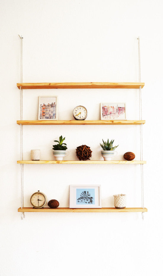 Rope shelf by Ikeahackers